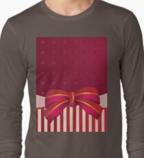 Striped background with bow Long Sleeve T-Shirt