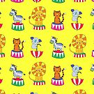 Circus Animals - sunshine yellow - Cute animal pattern by Cecca Designs by Cecca-Designs