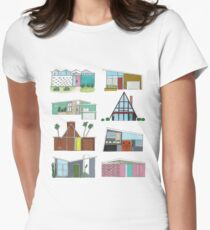 Mid Century Modern Houses Women's Fitted T-Shirt