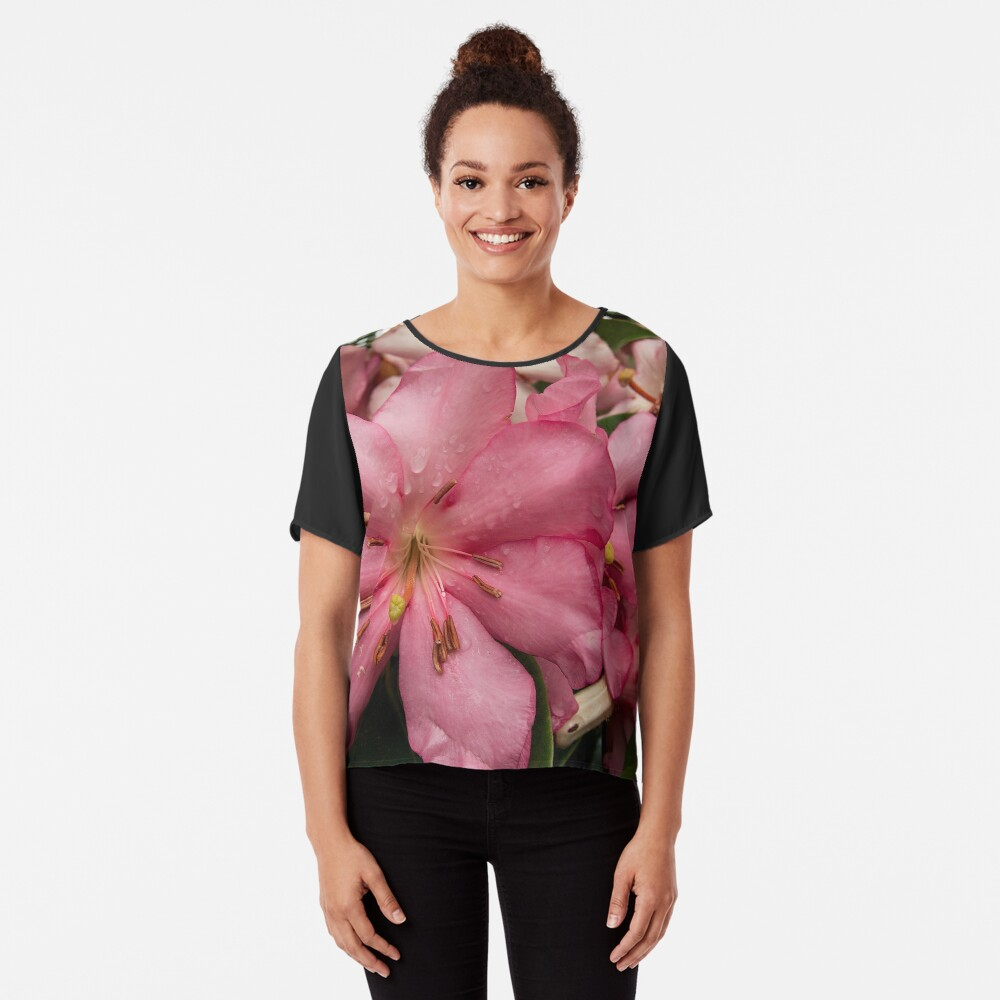 Pink Rhododendron from A Gardener's Notebook Chiffon Top