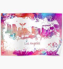 Los Angeles Skyline purple Poster