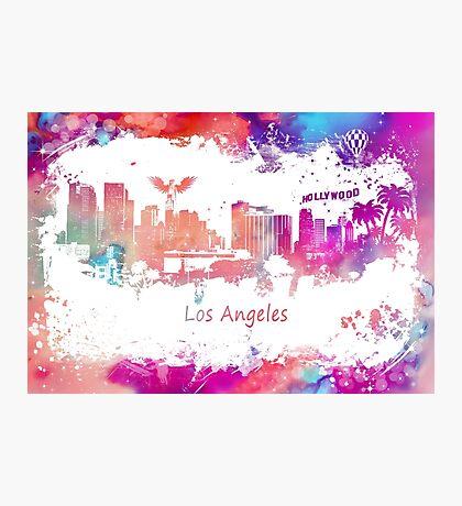 Los Angeles Skyline purple Photographic Print