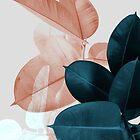 Erröten rosa Pflanzenblätter, botanisches Blatt von PrintsProject