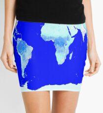 World Map Blue Turquoise Aqua Mini Skirt