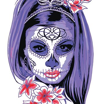 Female Sugar Skull, Flowers  by Jurzai