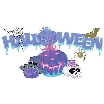 Halloween, pumpkin, skull, bat, spider web by Jurzai