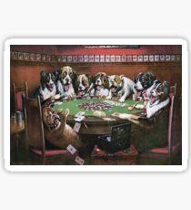 Dogs Playing Poker - Poker Sympathy Sticker
