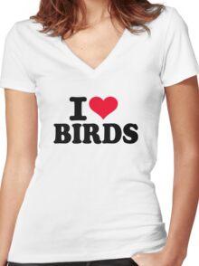 I love Birds Women's Fitted V-Neck T-Shirt