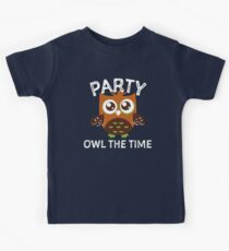 Party Owl The Time  Kids Tee