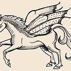 Pegasus Woodcut Style by Fiona Lokot