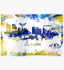 Los Angeles Skyline yellow-blue Poster