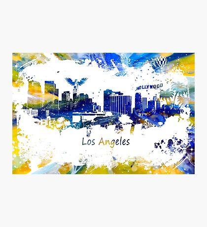 Los Angeles Skyline yellow-blue Photographic Print
