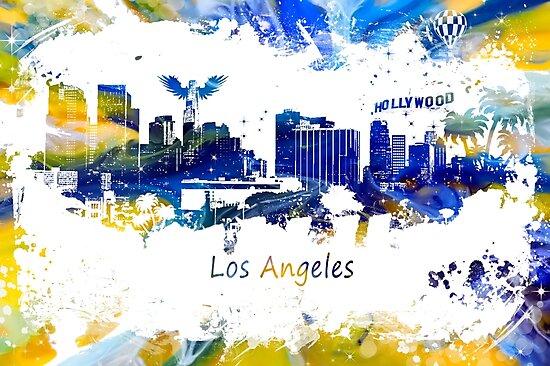 Los Angeles Skyline yellow-blue by JBJart