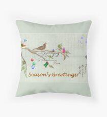 Season's Greetings - Birds Singing With Joy Throw Pillow