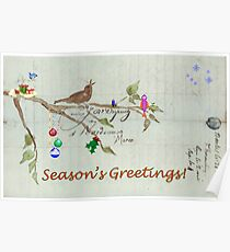 Season's Greetings - Birds Singing With Joy Poster