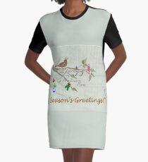 Season's Greetings - Birds Singing With Joy Graphic T-Shirt Dress