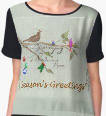 Season's Greetings - Birds Singing With Joy Chiffon Top