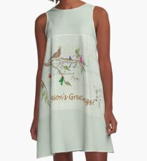 Season's Greetings - Birds Singing With Joy A-Line Dress