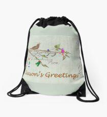 Season's Greetings - Birds Singing With Joy Drawstring Bag