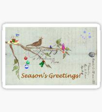 Season's Greetings - Birds Singing With Joy Sticker