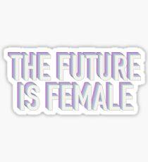 Pegatina El futuro es femenino púrpura y azul