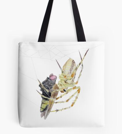Spider caught a fly Tote Bag