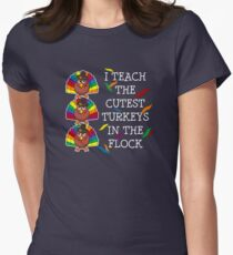 Funny and Cute Teacher Thanksgiving T-shirt Women's Fitted T-Shirt