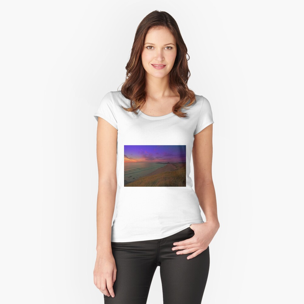 Newquay, Fistral Beach, Strand Sonnenuntergang Tailliertes Rundhals-Shirt