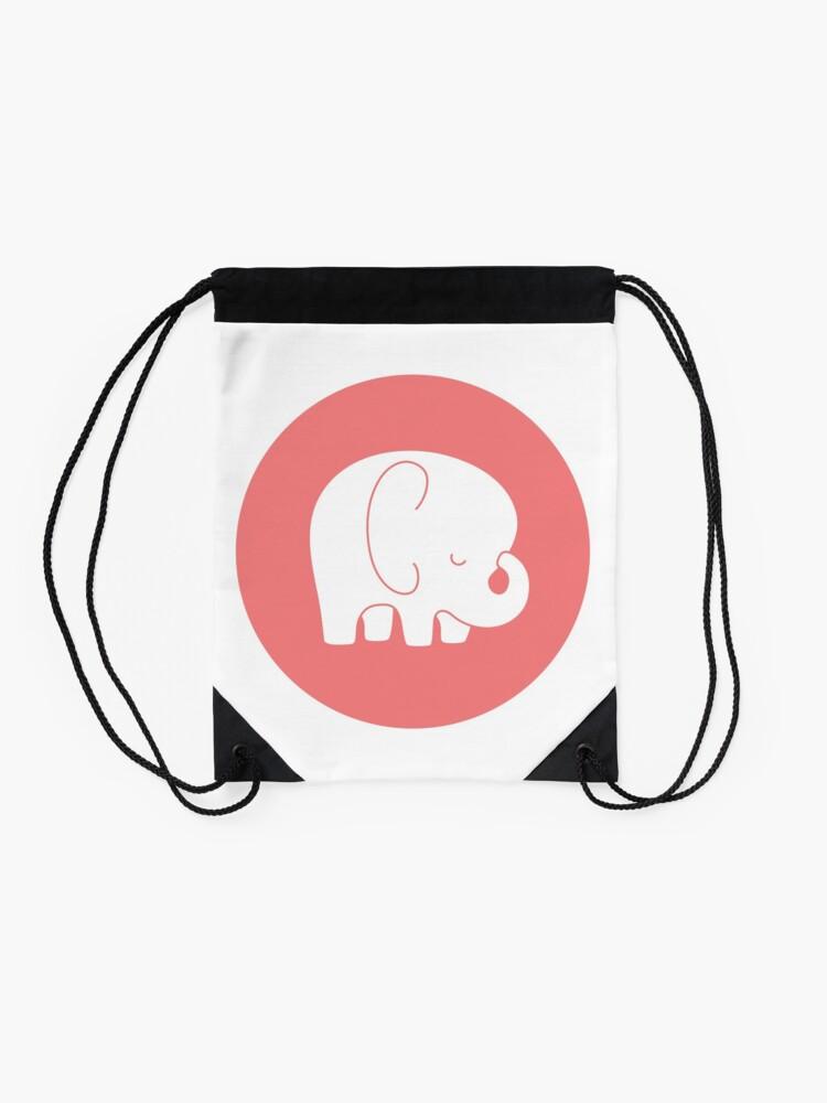 Alternate view of mod baby elephant Drawstring Bag