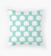 mod baby elephants mint Throw Pillow