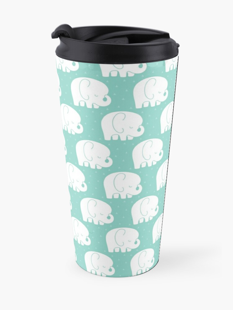 Alternate view of mod baby elephants mint Travel Mug