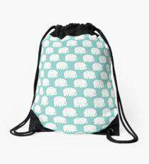 mod baby elephants mint Drawstring Bag