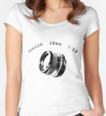 Nikkor 28mm Black Women's Fitted Scoop T-Shirt