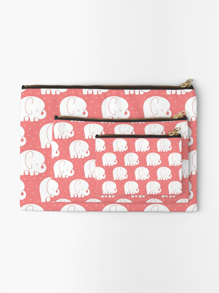 Alternate view of mod baby elephants coral Zipper Pouch