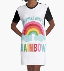 Somewhere Over the Rainbow Graphic T-Shirt Dress