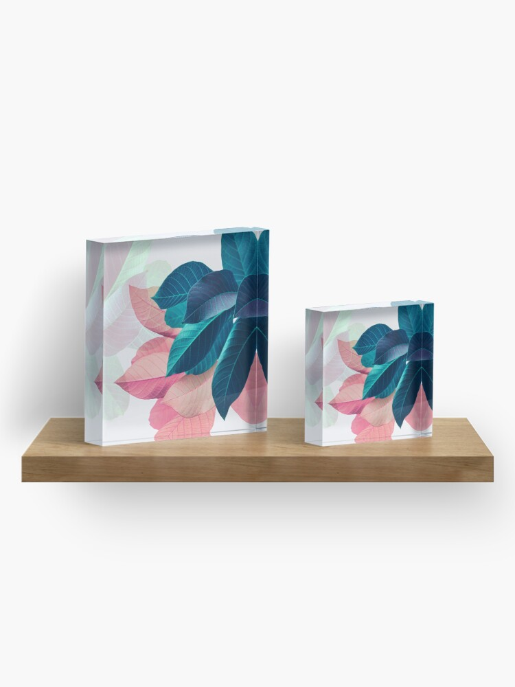 Alternate view of Blue Pink Plant Leaf Acrylic Block