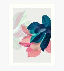 Blaues rosa Pflanzenblatt Kunstdruck
