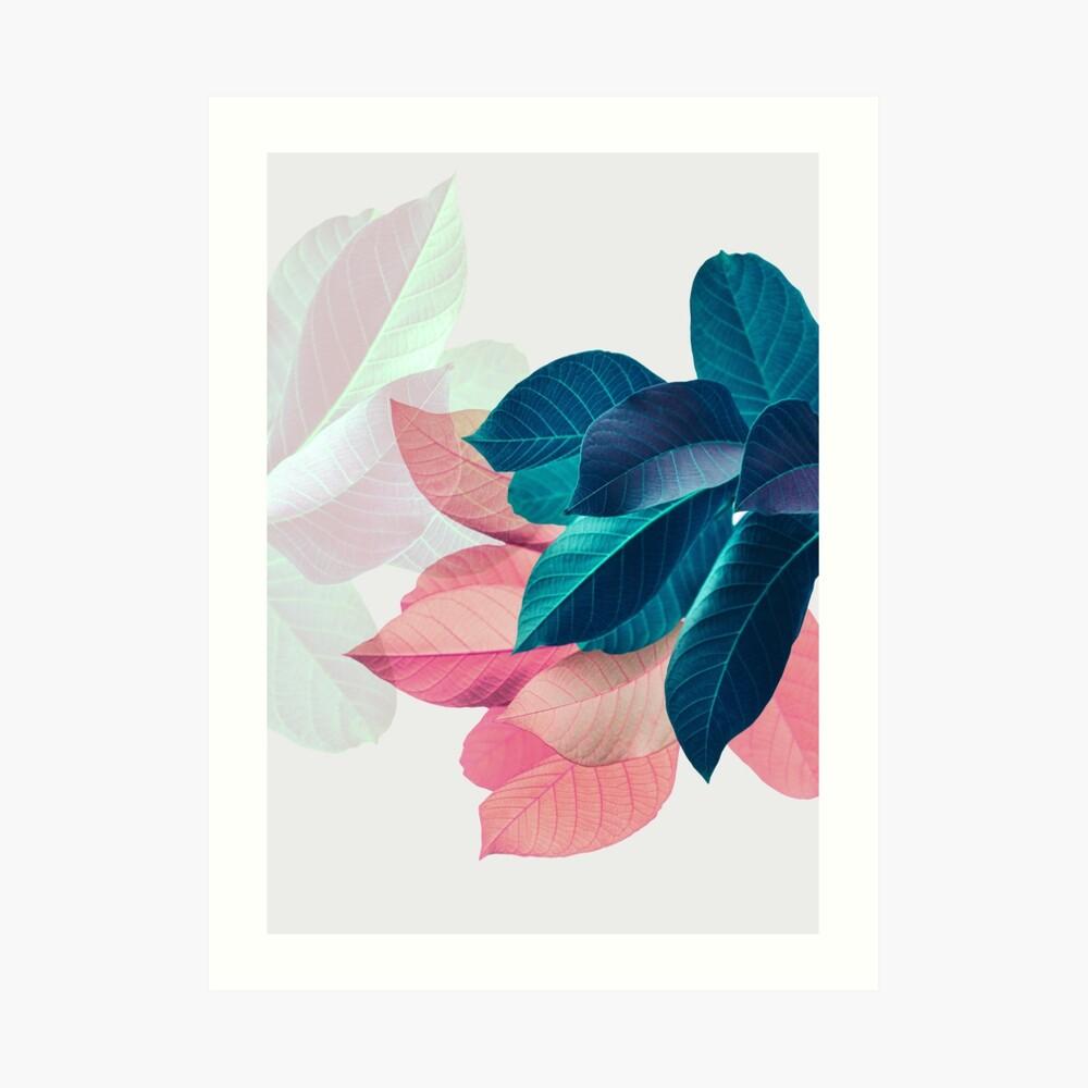 Blue Pink Plant Leaf Art Print