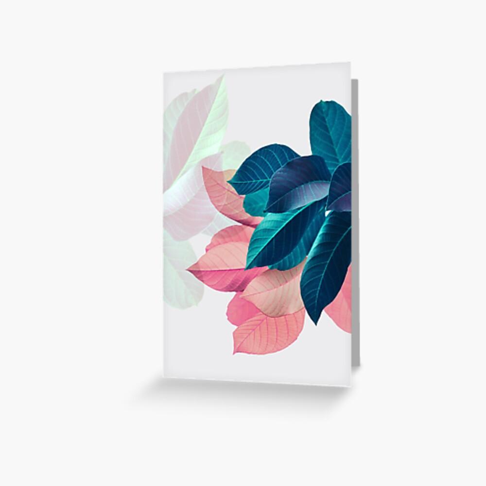 Blue Pink Plant Leaf Greeting Card