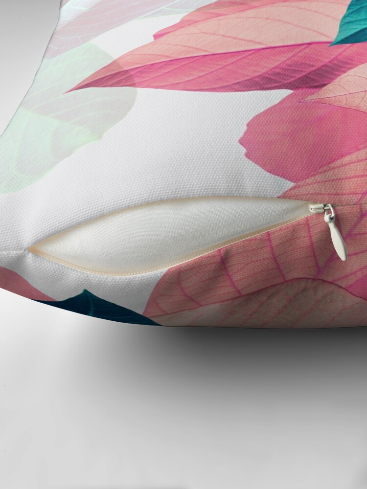 Alternate view of Blue Pink Plant Leaf Throw Pillow