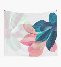 Blue Pink Plant Leaf Wall Tapestry