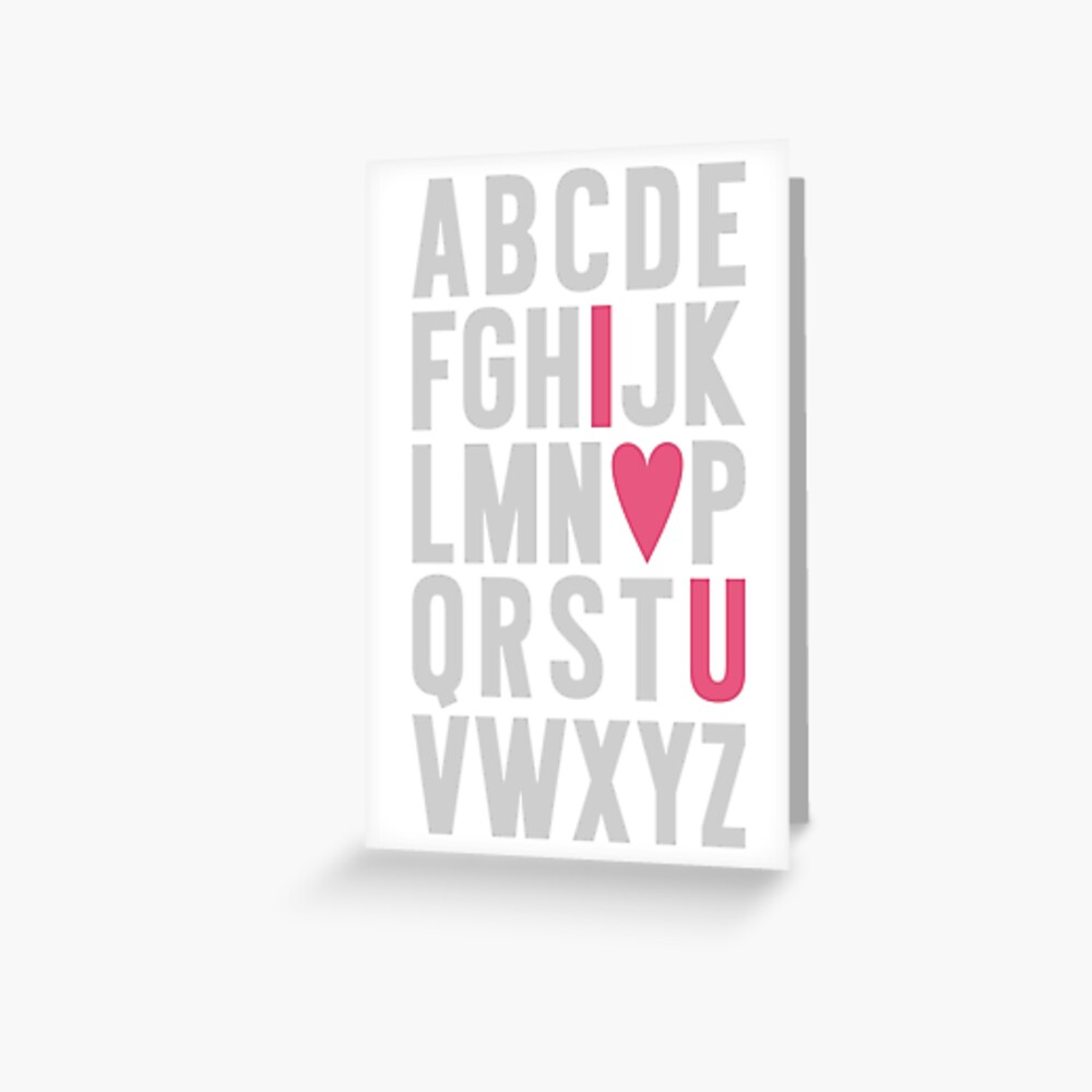 ABC I Love You Pink Greeting Card