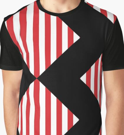 Red & White Warning Stripes Graphic T-Shirt