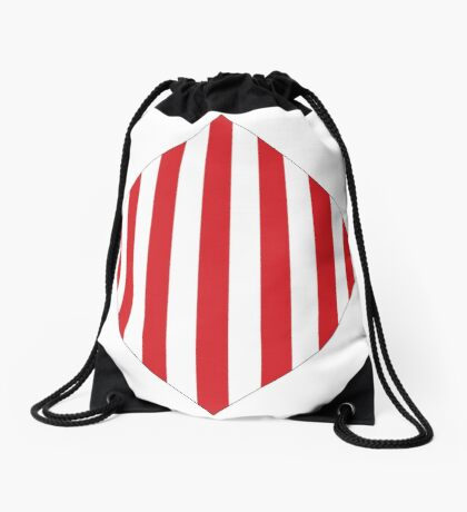 Red & White Warning Stripes Drawstring Bag
