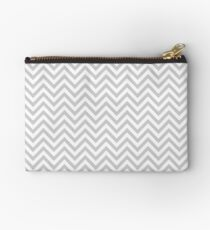 Grey Chevron Zipper Pouch