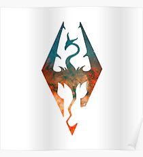 Skyrim Logo  -  Blue & Orange Galaxy Poster