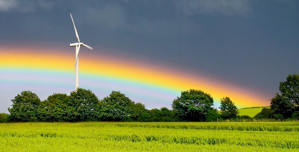rainbow and wind turbine by imaginaryfriend