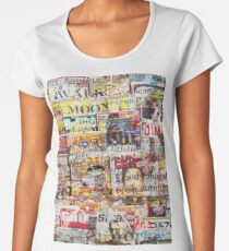 newspaper graffiti pattern Women's Premium T-Shirt
