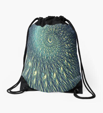Fractal rain Drawstring Bag