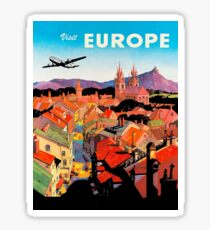 Europe, red roofs, airline, vintage travel poster Sticker